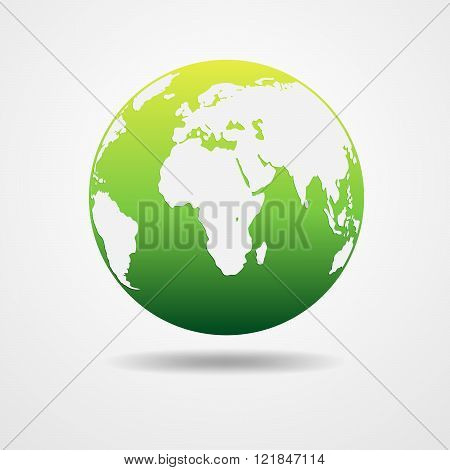 Light - Green Earth Globe - Vector Illustration.