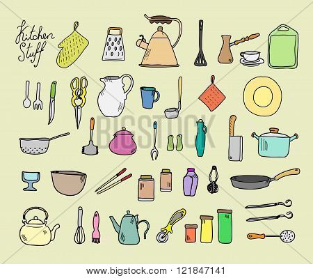 Kitchenware. Doodle set