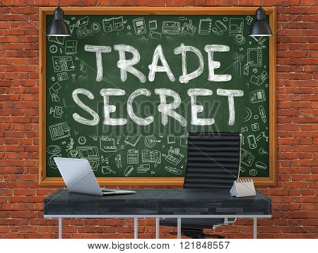 Trade Secret - Hand Drawn on Green Chalkboard.