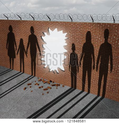 Open immigration and migration policy pertaining to a refugee crisis or illegal immigrants issues as a broken border wall with an entrance hole as a metaphor for gouvernment migration. poster