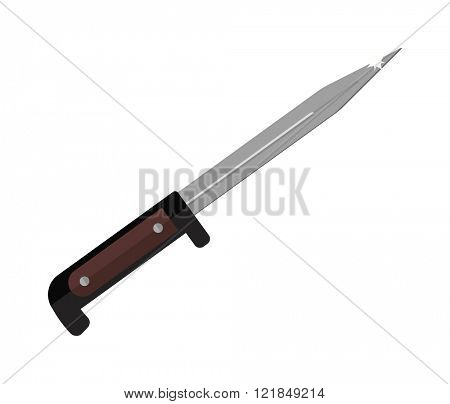 Bayonet sharp metal special tactics knife icon and army bayonet knife. Bayonet metal knife cartoon vector illustration icon on white background.