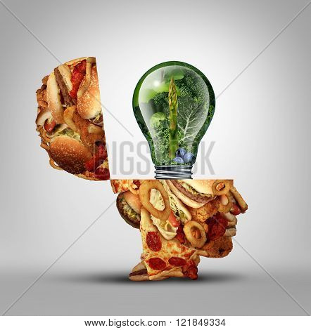 Diet ideas and dieting inspiration concept as an open human head made of greasy junk food with a lightbulb idea icon made of green fruits and vegetables as a nutrition and health care metaphor.