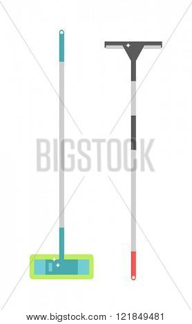 Essential tool for cleaning window knife edge scraper for cleaning windows and mop for washing windows isolated on white. Cleaning window work wash tools for cleaner service flat vector illustration.