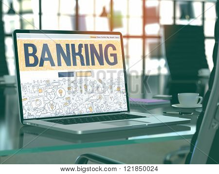 Banking - Concept on Laptop Screen.