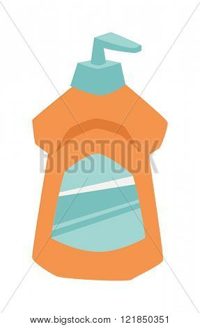 Household chemistry cleaning two plastic bottles, household cleaning container design. Plastic bottles of cleaning products household chemistry flat vector illustration isolated on white background.