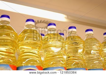 Vegetable Or Sunflower Oil In Plastic Bottles