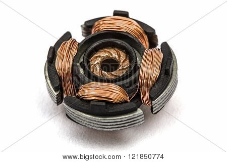 Stator Of Electric Engine, Isolated On White Background