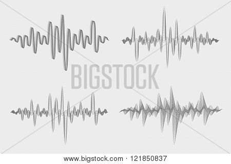 Vector Set Of Sound Waves. Music Waves Icons. Audio Equalizer Technology. Vector Illustration.