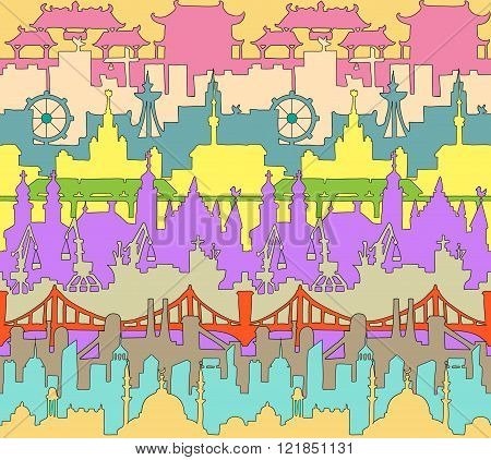 Skylines seamless pattern. Town. Doodle. Vector.