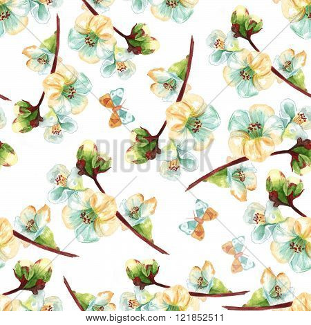 Seamless Background Pattern With Watercolor White Flowering Quince With Butterflies
