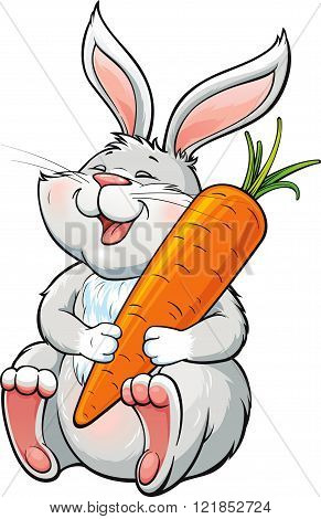 Happy laughing bunny holding a big carrot