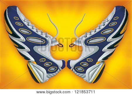 pair colorful sneakers in yellow background