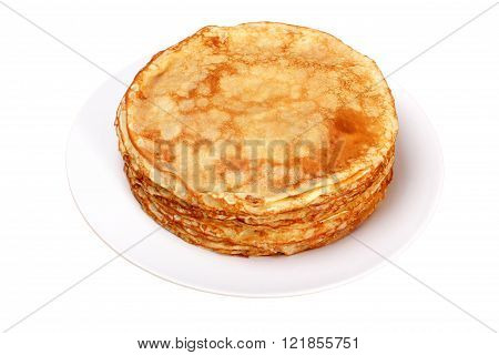 Stack of pancakes on white plate. Isolated on white.