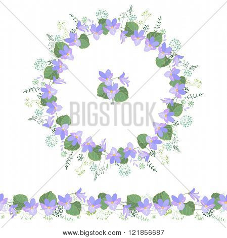 Floral round garland and endless pattern brush made of violas. Flowers for romantic and easter design, decoration,  greeting cards, posters, advertisement.