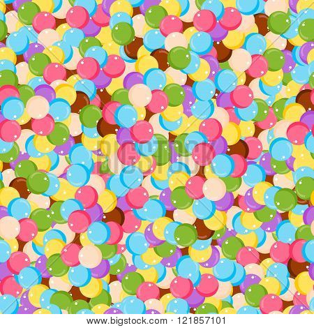 Variety of colorful gumballs seamless pattern flat vector illustration. Different colors round bubblegum seamless pattern and sweet sugar spreading pastry decoration background.