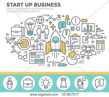 Start up business concept illustration, thin line flat design