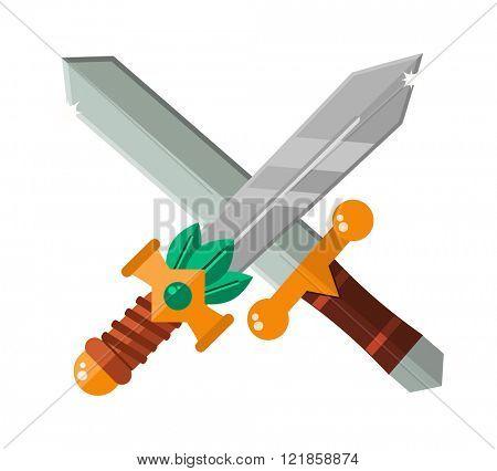 Asia katana swords and Asia steel swords ninja handle knife symbol. Two crossed Asia swords with gold handles traditional samurai weapon cartoon flat vector illustration.