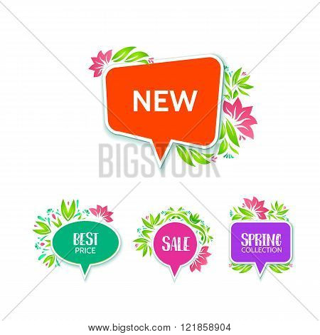 Decorative price tags with floral elements