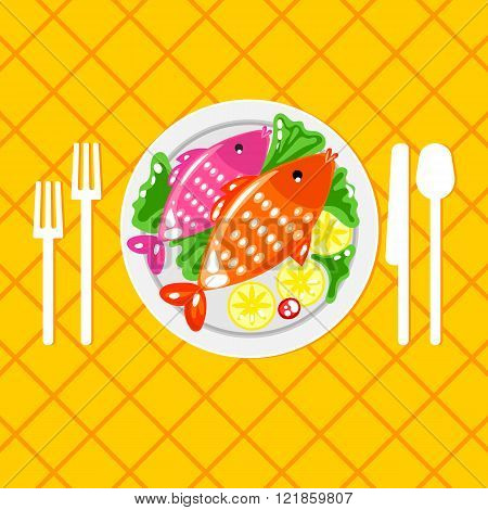 Cartoone fish dish illustration
