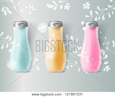 Mockup template for branding and product designs. Isolated realistic transperent bottles with unique design. Easy to use for advertising branding and marketing.