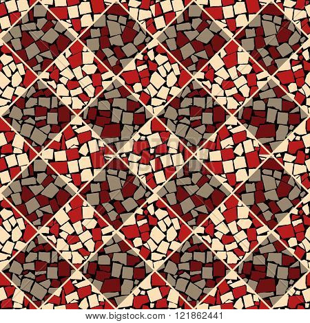 Red And Beige Vector Seamless Chess Styled Vintage Tiles Wall Texture. Vector Illustration