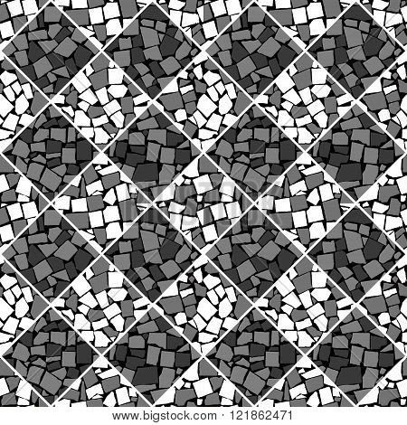 Black And White Vector Seamless Chess Styled Vintage Tiles Wall Texture. Vector Illustration