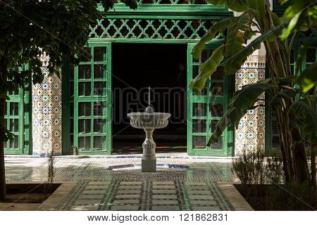 fountain in the courtyard of the 19th century Bahia Palace in Marrakech, Morocco