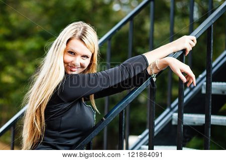 Blond woman s outdoor portrait