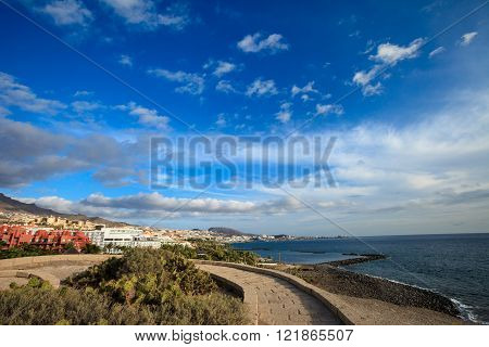 Summer seascape on tropical island Tenerife, Canary in Spain. Costa Adeje view from Las Toscas