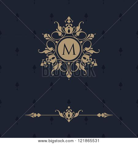 Floral Monogram And Border. Classic Ornament.