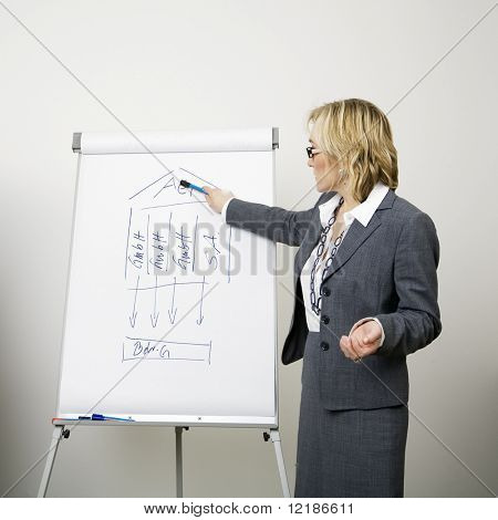 Business girl giving a presentation