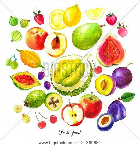 Illustration with watercolor food. Sketch set of fresh fruits.