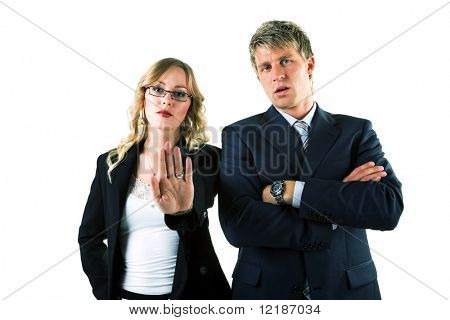 A couple (male / female) of business people expressing rejection