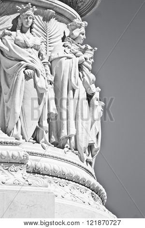 Statue at the Cordonata stairs on Capitoline Hill Rome Italy
