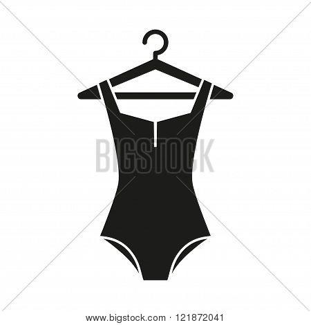 Black swimsuit on hanger