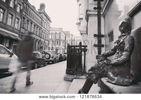 LIVERPOOL, UK - FEBRUARY 17TH 2016: A sculpture of Eleanor Rigby located on Stanley Street in Liverpool.
