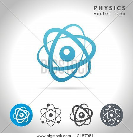 Physics icon set, collection of atom icons, vector illustration