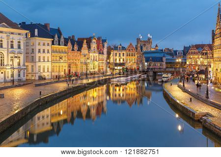 Old Town in the evening, blue hour, Ghent, Belgium