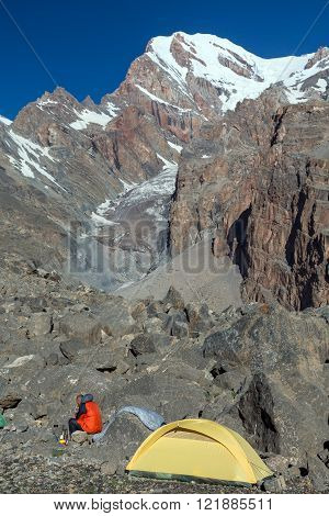 Sole Alpine Climber Camp in Morning