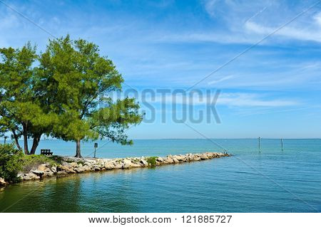 View across Tampa Bay from Anna Maria Island Florida