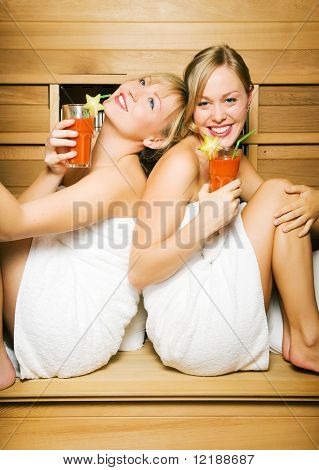Two friends (female) enjoying vitamin drinks in a sauna