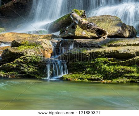 Water streams down moss covered rocks in Deep Creek in the Great Smoky Mountains National Park