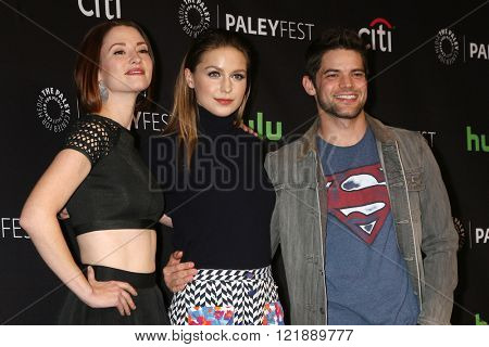 LOS ANGELES - MAR 13:  Chyler Leigh, Melissa Benoist, Jeremy Jordan at the PaleyFest Los Angeles - Supergirl at the Dolby Theater on March 13, 2016 in Los Angeles, CA
