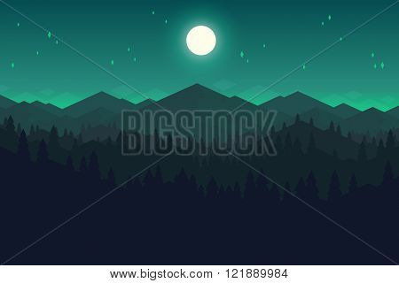 Vector mountains and forest landscape in the night. Beautiful geometric illustration.