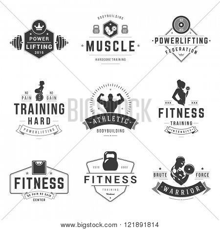 Fitness Logos Templates Set. Vector object and Icons for Sport Labels, Gym Badges, Health Logos Design, Emblems Graphics. Woman and Man Silhouettes, Exercise Logos, Barbell and Weight Symbols.