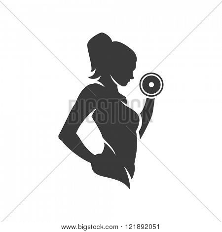 Bodybuilder Logos Templates Set. Vector object and Icons for Sport Label, Gym Badge, Fitness Logo Design, Emblem Graphics.Sport Symbol, Exercise Logo, Woman Holding Weight Silhouette.