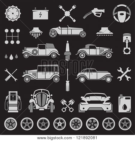 Car Service Vector Design Elements. Sport and Retro Cars Silhouettes Isolated On White Background. Vector objects for Labels, Badges, Logos Design. Car wash, Repairs Icons, Wheels and Tires Symbols.