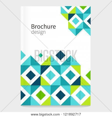 Brochure, leaflet, flyer, cover template. Modern Geometric Abstract background blue & green squares. minimalistic design creative concept