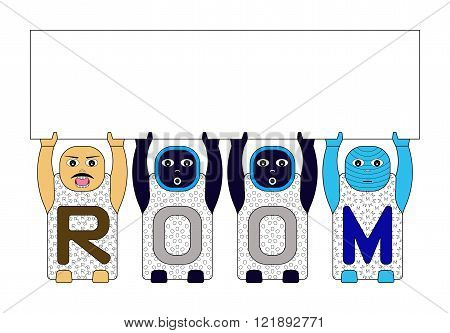 CHILDREN'S NAMES R,O and M LIFTING BLANK WHITE BOARD