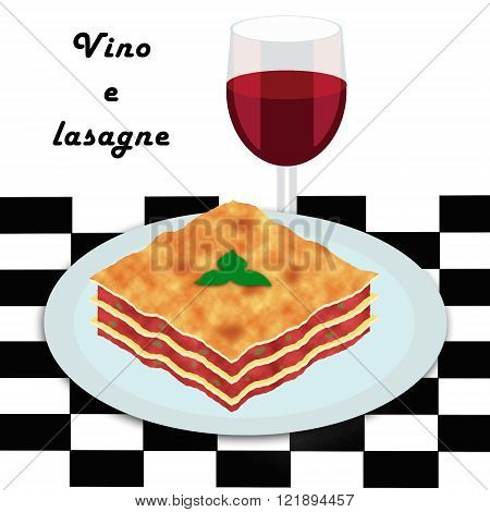 Clip art style illustration of a lasagne portion with a glass of red wine
